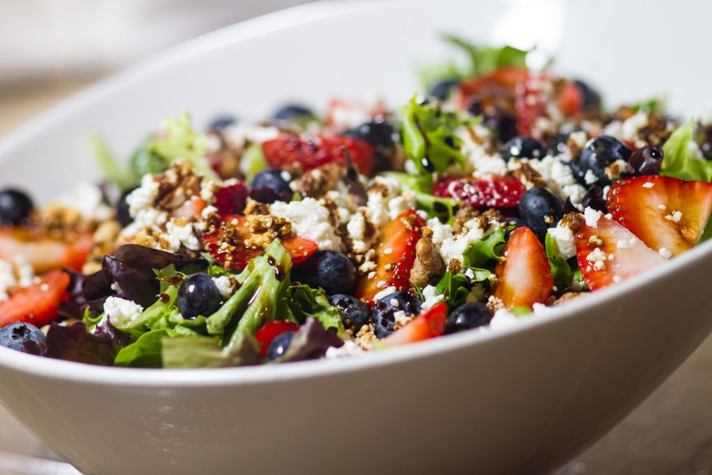 Seasonal Salad - Baby Greens, Mixed Berries, Goat Cheese, Candied Walnuts, Balsamic Vinaigrette and Balsamic Glaze Drizzle