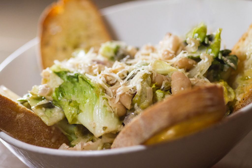 Escarole and Beans - Sautéed Escarole, Roasted Garlic, Cannelini Beans, Red Onions, Shaved Parmesan and Toasted Ciabatta