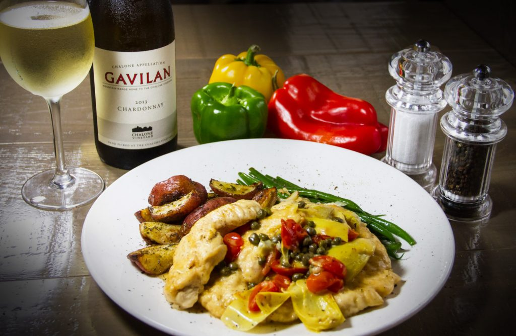 Lemon Chicken Scallopini -  Chicken Tenderloin, Capers, Artichokes, Grape Tomatoes in a Lemon White Wine Butter Sauce
